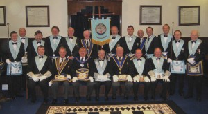 Members of Brierfield Lodge with distinguished guests at the Golden Jubilee celebration in April 2008